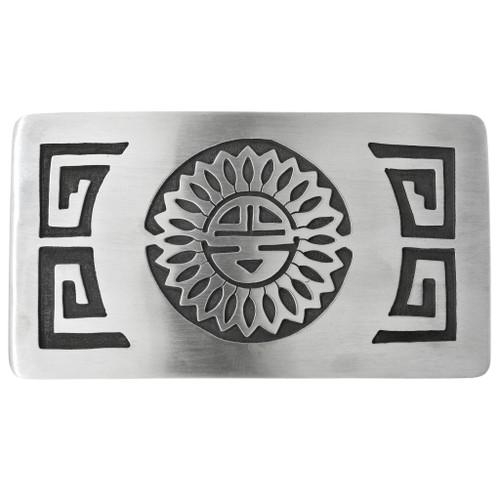 Vintage Hopi Overlaid Silver Belt Buckle 32536