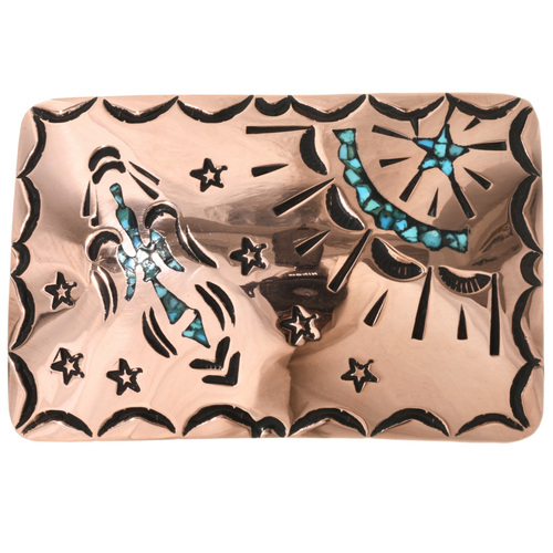Turquoise Peyote Bird Belt Buckle 32539