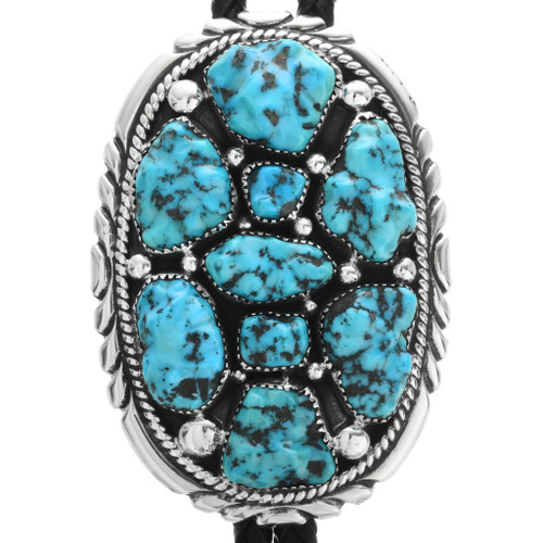 Old Pawn Turquoise Nugget Silver Bolo Tie 32541