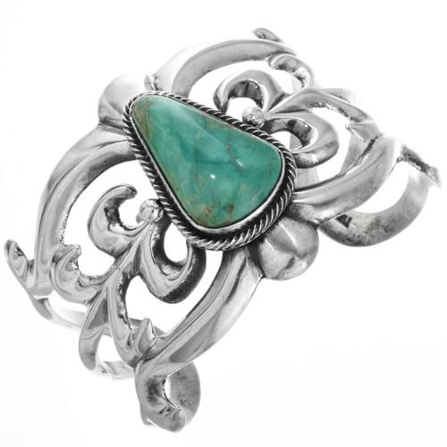 Green Turquoise Silver Navajo Cuff 32542