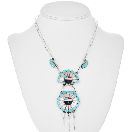 Zuni Sunface Turquoise Inlay Necklace 32548