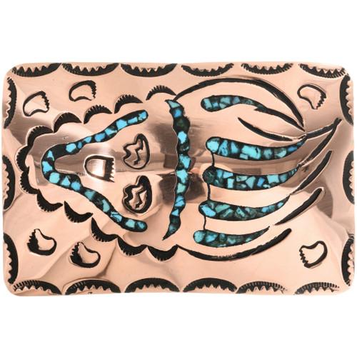 Bear Paw Copper Turquoise Belt Buckle 32550