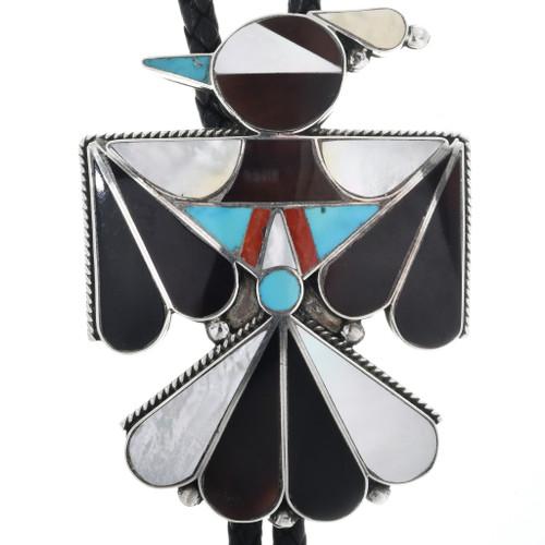 Old Pawn Zuni Thunderbird Bolo Tie 32561