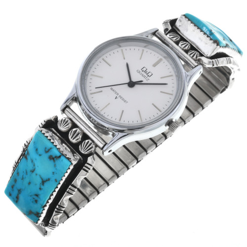 Old Pawn Turquoise Silver Mens Watch 32572