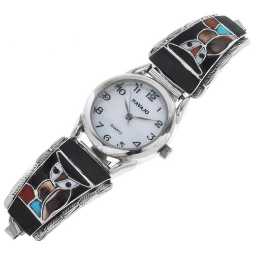 Vintage Zuni Inlaid Owl Watch 32605