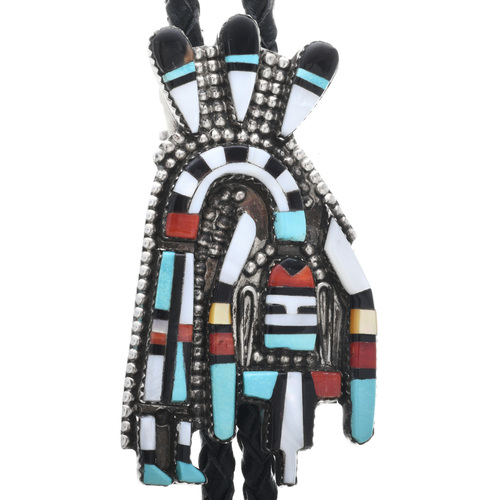 Vintage Zuni Rainbow Man Bolo Tie 32642