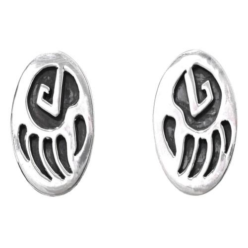 Navajo Silver Bear Paw Post Earrings 32670