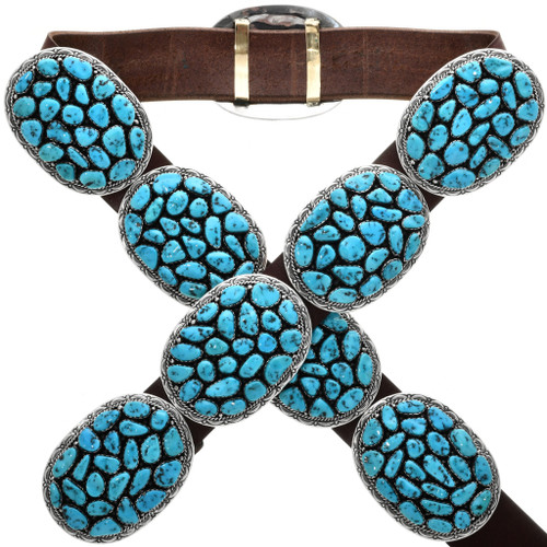 Vintage Natural Sleeping Beauty Turquoise Concho Belt 32673