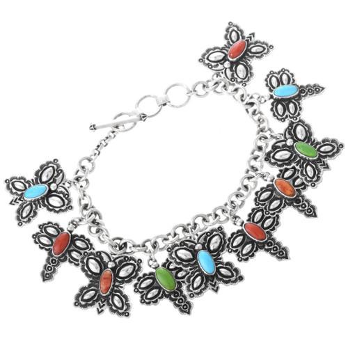 Vintage Butterfly Dragonfly Silver Charm Bracelet 32679