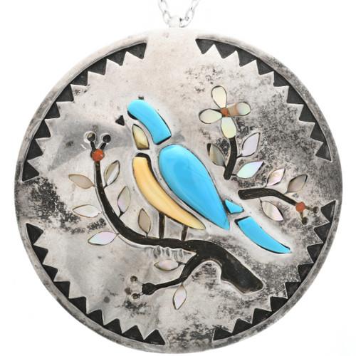 Old Pawn Zuni Inlaid Songbird Pendant 32811