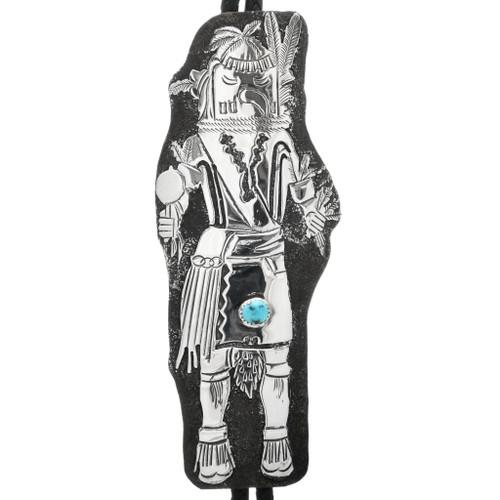Vintage Navajo Kachina Turquoise Bolo Tie 32813