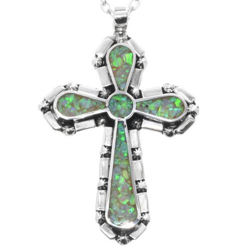 Opal Sterling Silver Cross Pendant 32833