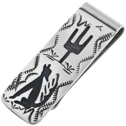 Navajo Coyote Silver Money Clip 32852