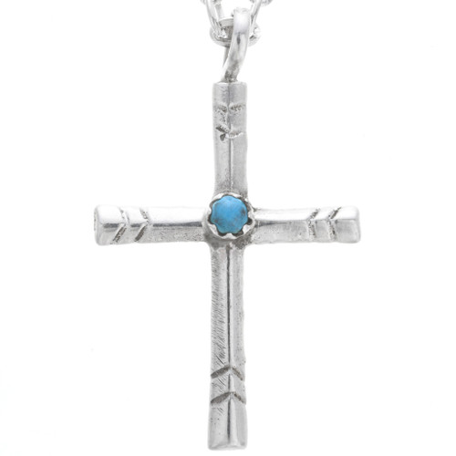 Turquoise Silver Cross Pendant 32862