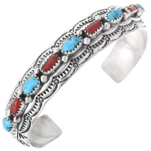 Turquoise Coral Navajo Silver Row Bracelet 32871