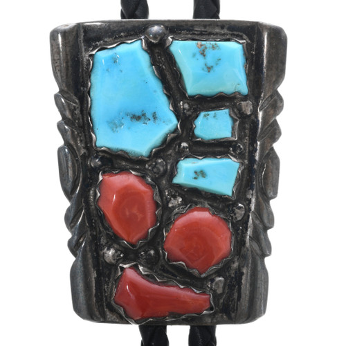 Old Pawn Turquoise Coral Bolo Tie 32895