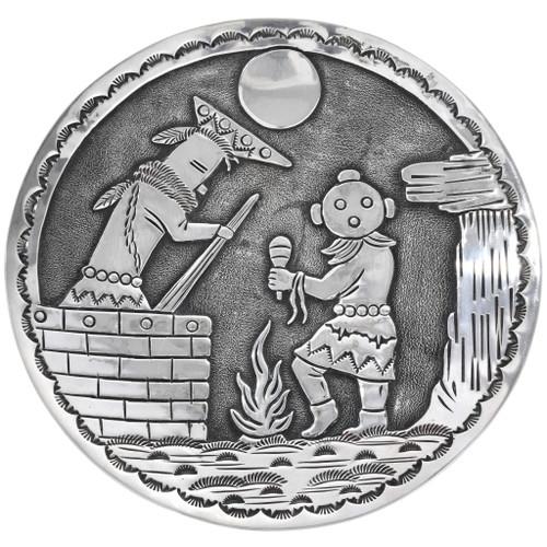Vintage Sterling Silver Kachina Plate 32913