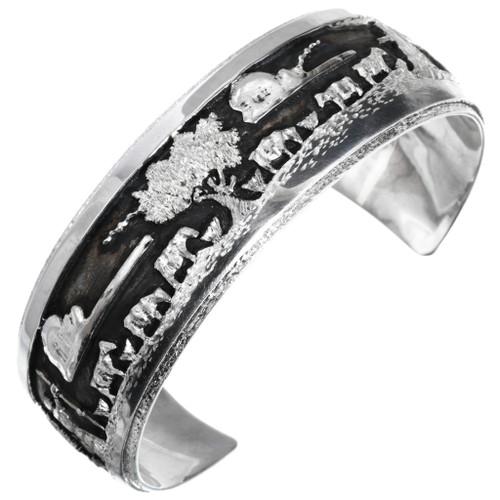 Sterling Silver Navajo Storyteller Bracelet 32936