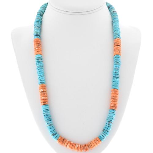 Navajo Turquoise Heishi Bead Necklace 32959