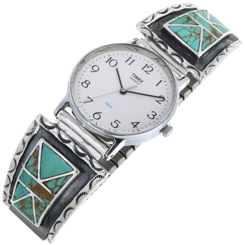 Vintage Inlaid Turquoise Mens Watch 32964