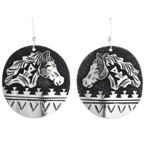 Navajo Sterling Silver Horse Dangle Earrings 32980