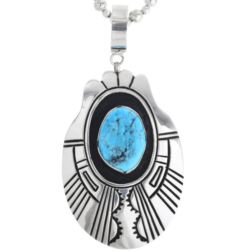 Navajo Sterling Silver Turquoise Pendant 32987