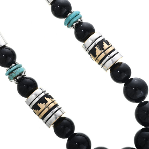 Tommy Rose Singer Onyx Bead Necklace Overlaid Gold Silver Barrels 2021