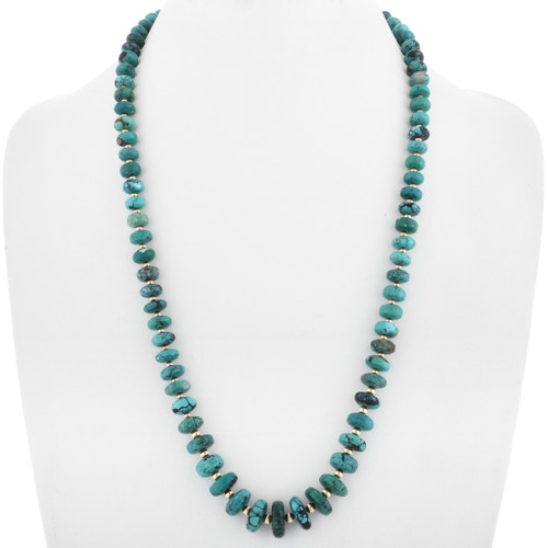 Native American Turquoise Gold Bead Necklace 32996