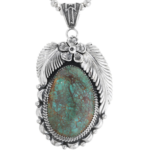 Green Turquoise Sterling Silver Pendant 33002