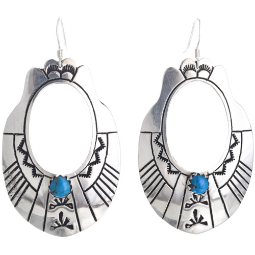 Turquoise Silver Native American Earrings 33006