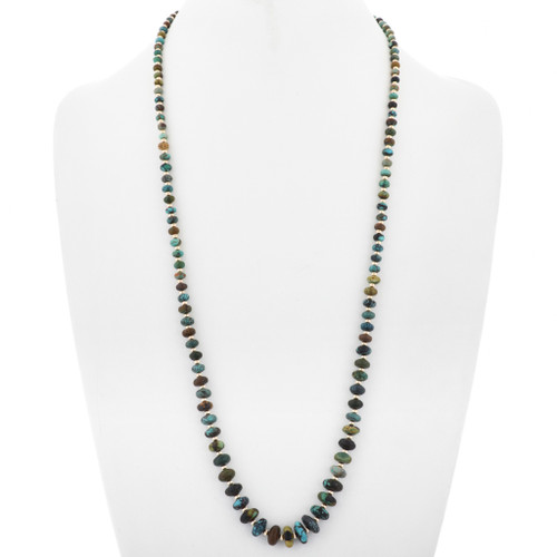 Navajo Turquoise Gold Beaded Necklace 33020