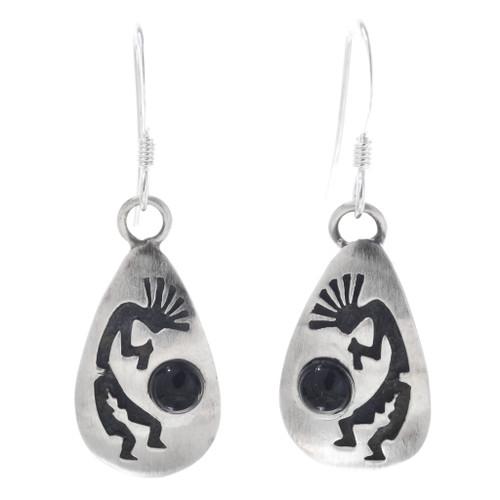 Kokopelli Onyx Silver Dangle Earrings 33025