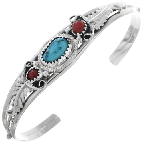 Turquoise Coral Silver Ladies Bracelet 33026