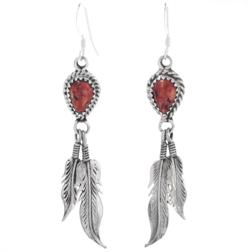 Spiny Oyster Silver Feather Earrings 33028