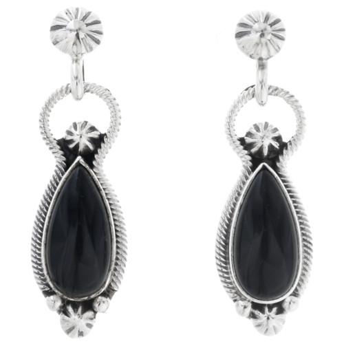 Black Onyx Silver Navajo Earrings 33033