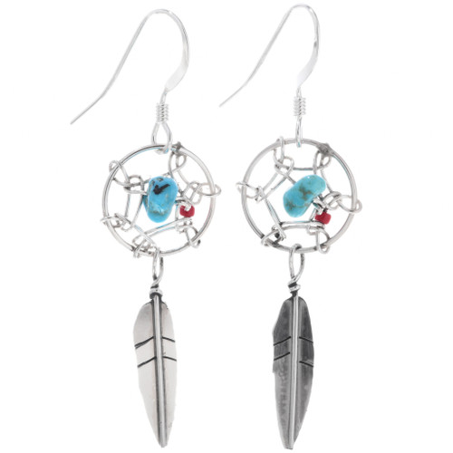 Turquoise Silver Dreamcatcher Earrings 33035