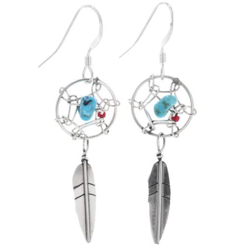 Turquoise Silver Dreamcatcher Earrings 33035