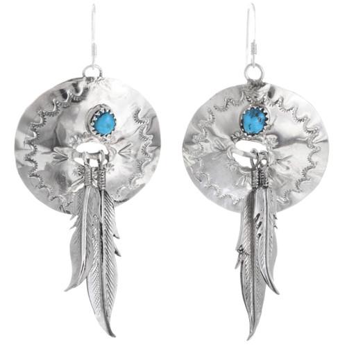 Turquoise Silver Concho Dangle Earrings 33043