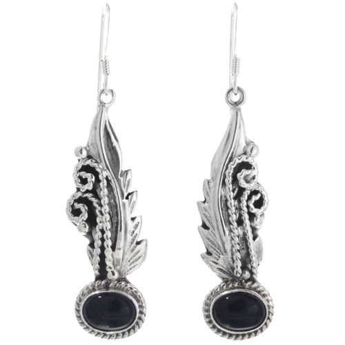Black Onyx Silver Navajo Earrings