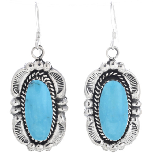 Navajo Turquoise French Hook Earrings 33046
