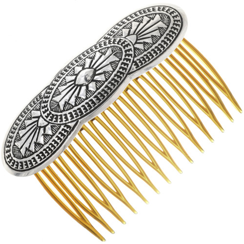 Navajo Repousse Silver Hair Comb 33048