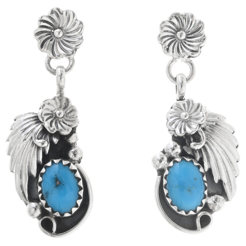 Turquoise Silver Navajo Flower Earrings