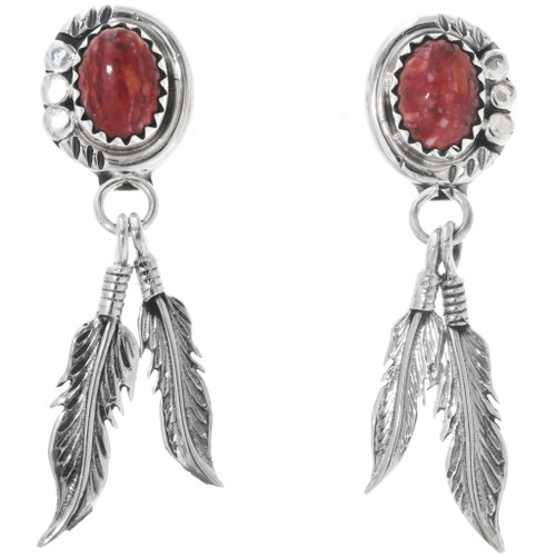 Coral Silver Feather Earrings 33050
