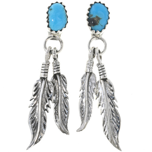Turquoise Feather Post Dangle Earrings 33054