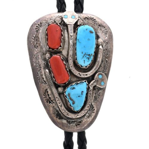Turquoise Coral Zuni Bolo Tie 33058