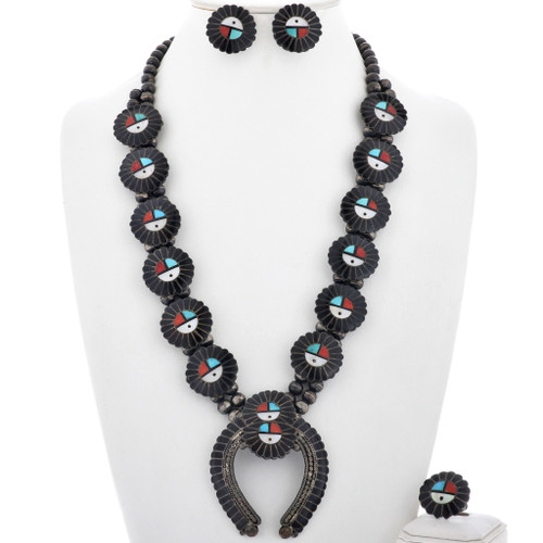 Zuni Sunface Squash Blossom Necklace Set With Earrings Ring 33060