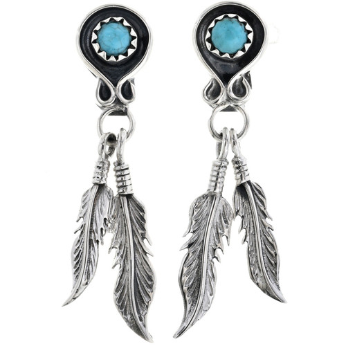 Turquoise Silver Post Dangle Earrings With Sterling Feathers 33068