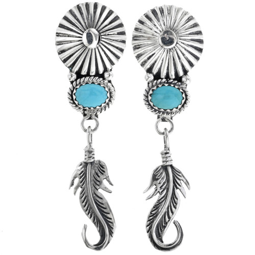 Silver Concho Turquoise Feather Dangle Earrings 33070