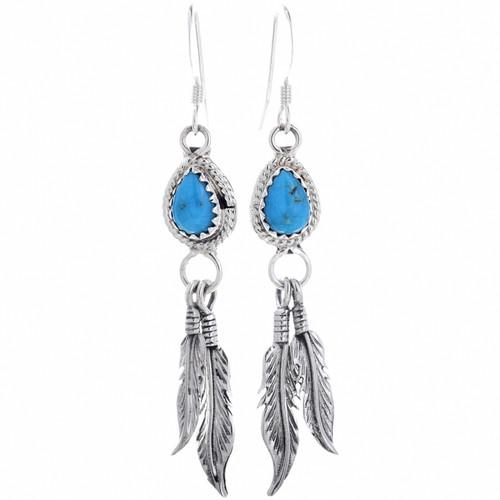 Turquoise Teardrop Silver Feather Earrings 33072