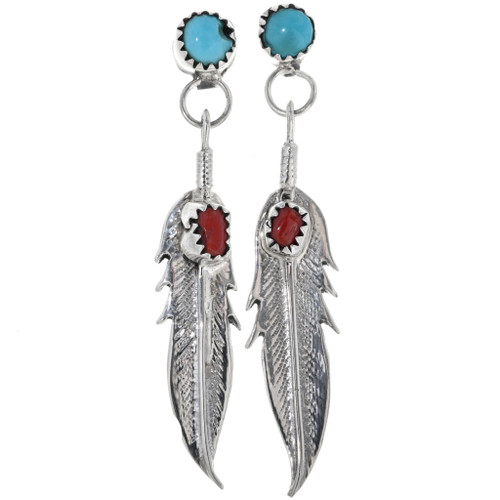 Coral Turquoise Silver Feather Post Dangle Earrings 33073
